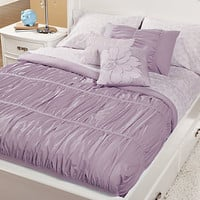 Pretty in Pleats Purple Twin Bed Set