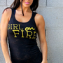 Girl on FIRE Burnout Workout Tank Size by FiredaughterClothing