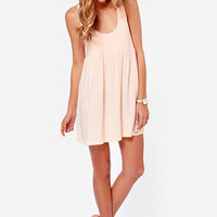 Volcom UR A Pistol Distressed Light Pink Babydoll Dress