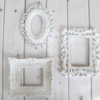 Picture Frames Vintage Ornate White Baroque set of 3 Frames, Wedding frames, Baby Nursery Decor