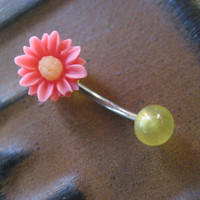 Pink Yellow Daisy Belly Button Ring Jewelry- Flower Navel Piercing Stud Bar Barbell