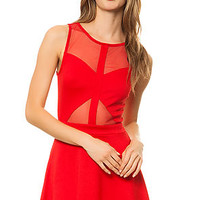 The Sleeveless Ponte Skater Dress with Mesh Illusion in Red