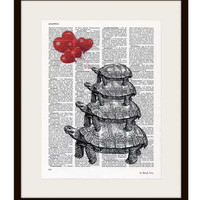 Stacked turtles with red hearts balloons dictionary print - on Upcycled Dictionary page - by NATURA PICTA