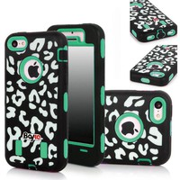 Bayke Brand Premium Armorbox Armor Defender Case for Apple Iphone 5 5S (5C Not Fit) Fashion Leopard Print Design High Impact Dual Layer Hybrid Full-body Protective Bumper Case (Green / Screen Protector not Include)