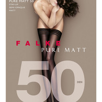 Falke Pure Matte Opaque Stay-Up Thigh Highs Hosiery 41551 at BareNecessities.com