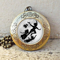 Peter Pan full moon pendant locket necklace,game pendant locket necklace,kid friend gift