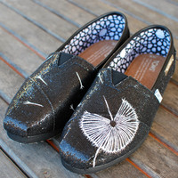 Black Glitter Womens Toms - Dandelion blowing in the wind