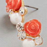 Sashays Gone By Earrings in Coral | Mod Retro Vintage Earrings | ModCloth.com