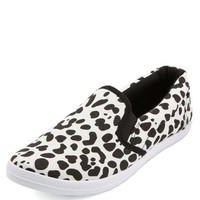DALMATIAN PRINT CANVAS SLIP-ON FLATS