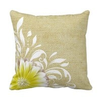 Gerbera Daisy Scroll Burlap 1 yellow taupe