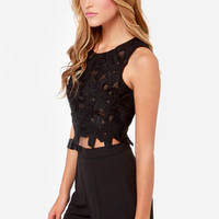 Lady Nightshade Black Lace Crop Top