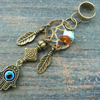 hamsa hand evil eye dreamcatcher ear cuff turquoise and amber in boho gypsy hippie hipster native american boho tribal fusion tribal style