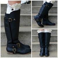 Fox Trot Tall Black Buckle Riding Boots
