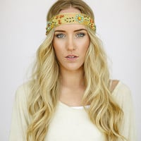 Bohemian Beaded Indian Ribbon Headband Head Wrap Women's Fashion Hair Accessories Gold & Mint Bohemian Hair Band (HB-60)