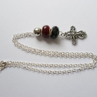 Silver cross necklace fashion jewellery silver chain burgundy black silver beads handmade necklace for women cross charm bead jewellery gift