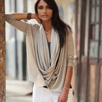 Draped front knitted sweater - Wrap