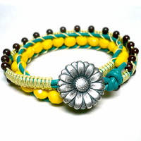 Sunflower Yellow Crystal Green Leather Double Wrap BOHO Bracelet