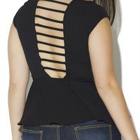 Cage Back Peplum Top | Wet Seal