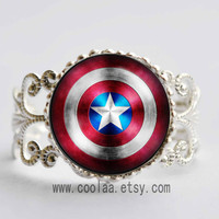 Captain America glass stone Adjustable Ring,the avengers superhero Adjustable Ring,Captain America Shield vintage Adjustable Ring