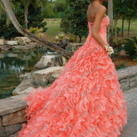 2013 New A line Beading Sweetheart Ruffles Long Coral Organza Party Prom Dresses