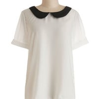 ModCloth Scholastic Mid-length Short Sleeves Guest Appearance Top in White