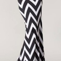 Fashion Forever Women's Zigzag Chevron Waist Mermaid Maxi Skirt