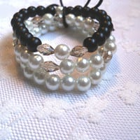 Black and White Pearl and Champagne Crystal Beaded Bracelet Set
