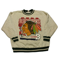 Vintage 1993 Chicago Black Hawks Crewneck Made in USA Mens Size Large