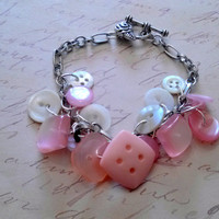 Vintage Button Bracelet Mother of Pearl Pink