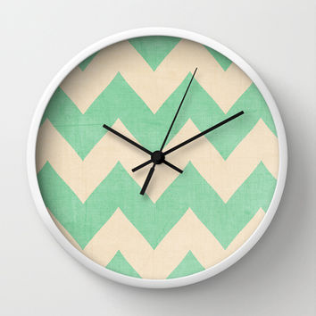 Malibu - Mint Green Chevron Wall Clock by CMcDonald