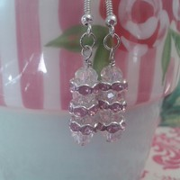 Pink diamante and glass bead earrings