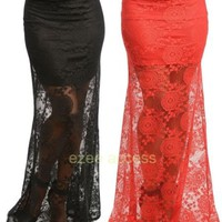SeXY WoMeNS SKiRT HiGH WaiSTeD MeRMaiD SHeeR MeSH LaCe FiTTeD LoNG MaXi SKiRT SL