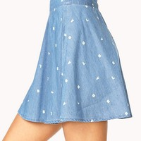 Sporty Chambray Skater Skirt