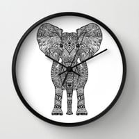 AZTEC ELEPHANT Wall Clock by Monika Strigel