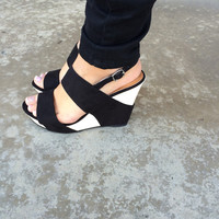 Black Color Block Wedges