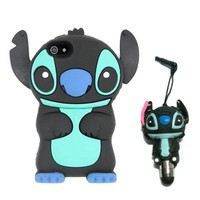 DE Cute 3D Cartoon Animal Series iPhone 5C Case New Black 3D Cartoon Stitch Movable Ear Shape Style Soft Silicone Rubber Case Protective Cover for Apple iPhone 5C With 3D Stitch Stylus Touch Pen Gift
