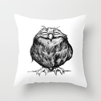 Owl Ball Throw Pillow by Dave Mottram