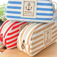 Stripe Pencil Case Pouch Purse Cosmetic Makeup Bag Storage Student Stationery Zipper Wallet,Blue