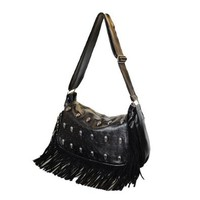 Tassel Skull Head Rivets Sequins Black Satchel Shoulder Crossbody Bag