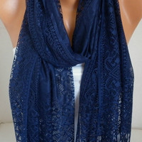ON SALE - Dark Blue Tulle Scarf Deep Blue - Shawl Women Scarf - Cowl Scarf - fatwoman