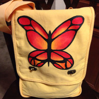 Messenger Bag With Hand Painted Butterfly