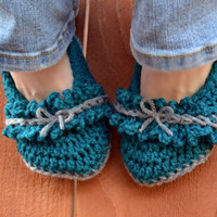 Bows and ruffles crochet slipper booties, shoes, socks in teal and grey