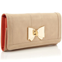 Lucy Metal Bow Long Wallet | Camel | Monsoon