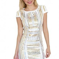White Embellished Cap Sleeve Mini Dress
