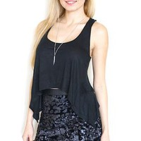 Black Sequined Mini Skirt