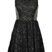 Black and Gold Glimmered Skater Dress