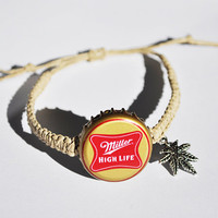 Miller High Life Beer with Weed Leaf Charm Recycled Bottle Cap Hemp Bracelet, marijuana leaf charm, weed bracelet, Red and Gold