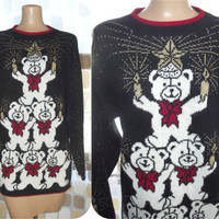 Vintage 80s Festive Bears Novelty Ugly Sweater Tunic Large Celebrate With Candles & Stars