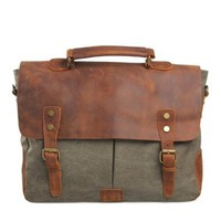 Retro Leather Canvas School College Messenger Briefcase Satchel Handbag iPad Bag