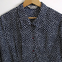 Navy blue polka dot blouse - 80s vintage long sleeve top - button down shirt - small / medium